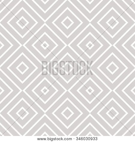 Vector Geometric Seamless Pattern With Squares, Diamonds, Rhombuses, Grid, Lattice. Abstract White A