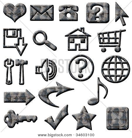 Silver Metal Deco Website Buttons and Icons Navigation