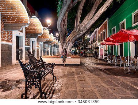 Puebla De Zaragoza, Mexico, October 15, 2018 - Artist Quarter Or Barrio Del Artista In Historic Cent