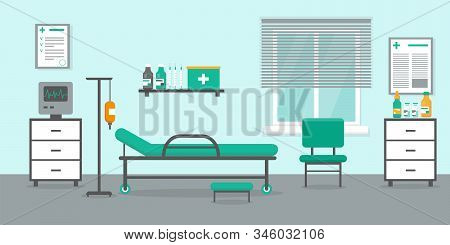 Intensive Therapy Room With Bed, Window And Medical Equipment. Hospital Emergency Room Interior Vect