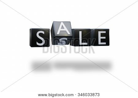 Plastic Black Dice With Sale Word Discount Black Friday Day Concept. The View From The Front On A Wh