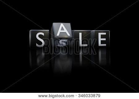 Plastic Black Dice With Sale Word Discount Black Friday Day Concept. The View From The Front On A Bl