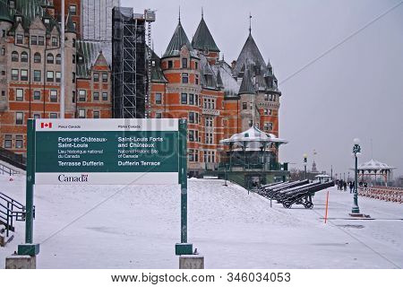 Dufferin Terrace With Saint Louis Fort And Chateaux In Quebec