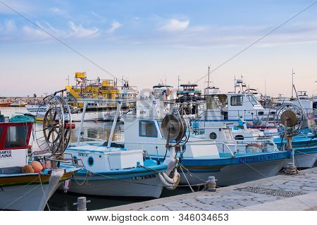 Agia Napa, Cyprus - October 22, 2019: Sea Harbour. Various Fishing Boats With Special Gear The Pier