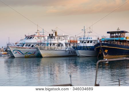 Agia Napa, Cyprus - October 22, 2019: Various Touristic Ships And Pleasure Boats In The Harbor At Su