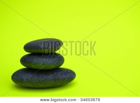 Black Rocks On Neon Green