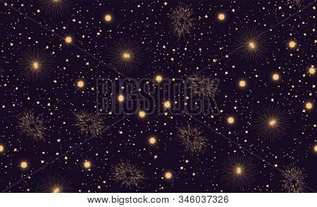 Seamless Pattern With Space Graphic Elements On Dark Background. Decorative Galactic Backdrop