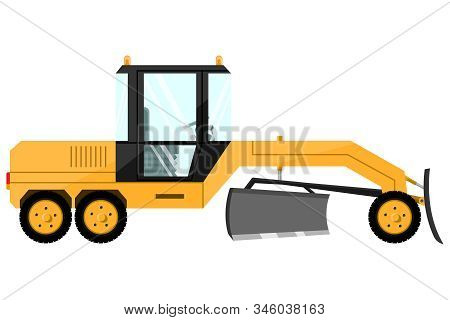 Grader. Design Of A Cool Large New Construction Equipment In Yellow.
