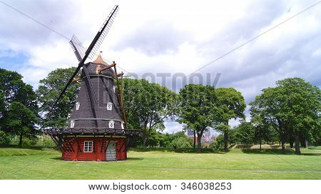 Copenhagen, Denmark - Jul 06th, 2015: View Of Old Working Windmill At Kastellet Fortress, Windmill A