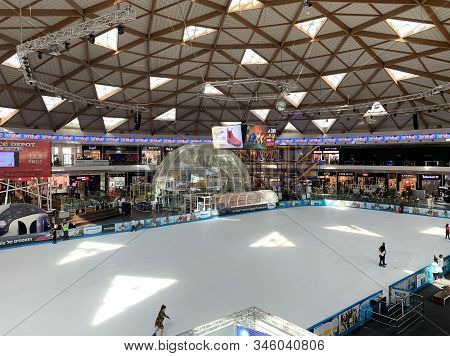 Eilat, Israel - March 04, 2019: Modern Interior Of Rhe Ice Park And Mall In Eilat