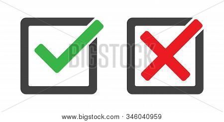 Check Mark And Cross In Box Vector Isolated Icons. Check Mark Icon Set. Green And Red Yes And No Sig