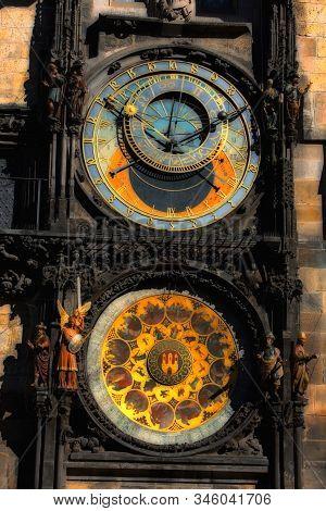 The Prague Astronomical Clock, Or Prague Orloj In Prague, Czech Republic. Full Dial