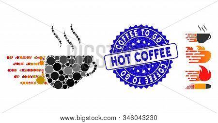 Mosaic Express Coffee Icon And Distressed Stamp Watermark With Coffee To Go Hot Coffee Phrase. Mosai