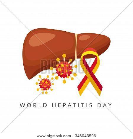World Hepatitis Day, Liver And Viral Hepatitis, Viruses - Vector Illustration Isolated On White Back