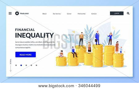 Financial Inequality, Difference In Salary Income Business Concept. Miniature Men And Women On Unequ