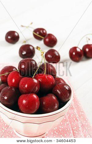Bowl Of Fresh Ripe Red Cherries