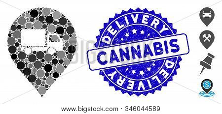 Collage Lorry Marker Icon And Grunge Stamp Seal With Delivery Cannabis Text. Mosaic Vector Is Formed