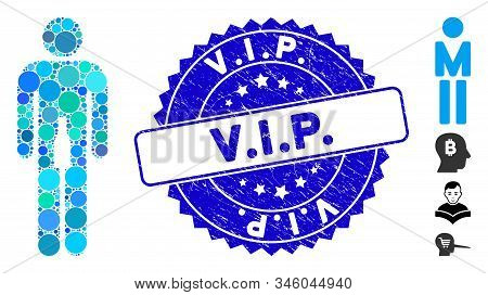 Collage Man Icon And Rubber Stamp Seal With V.i.p. Caption. Mosaic Vector Is Composed With Man Icon