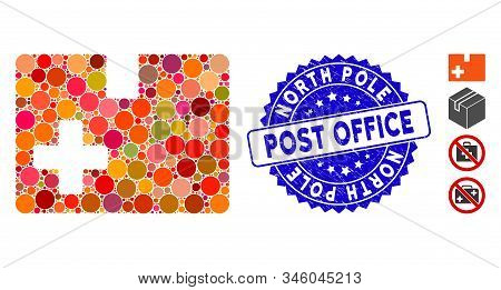 Mosaic Medical Box Icon And Corroded Stamp Seal With North Pole Post Office Phrase. Mosaic Vector Is