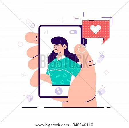 Video Call With Loved One. Male Hand Holding Smartphone With Girlfriend On Screen. Finger Touch Scre