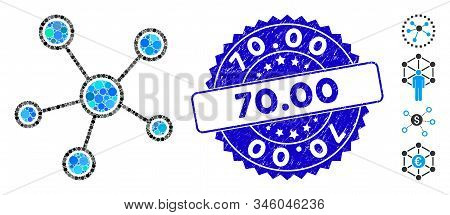 Mosaic Network Links Icon And Rubber Stamp Seal With 70.00 Phrase. Mosaic Vector Is Composed With Ne