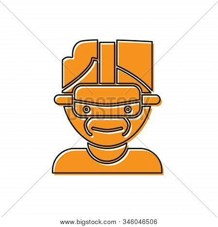 Orange Virtual Reality Glasses Icon Isolated On White Background. Stereoscopic 3d Vr Mask. Vector Il