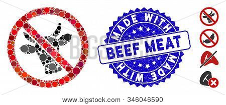Collage No Beef Icon And Corroded Stamp Seal With Made With Beef Meat Caption. Mosaic Vector Is Form