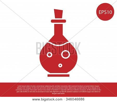 Red Glass Bottle With Magic Elixir Icon Isolated On White Background. Computer Game Asset. Vector Il