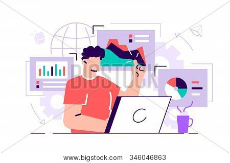 Female Office Workers Are Studying The Infographic, The Analysis Of The Evolutionary Scale. Flat Sty