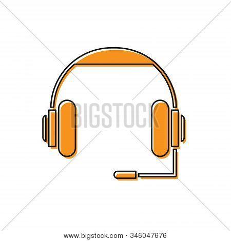 Orange Headphones Icon Isolated On White Background. Earphones. Concept For Listening To Music, Serv