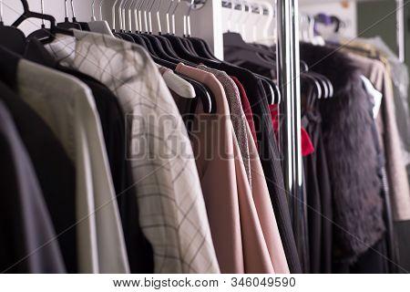 Clothes Hanger Atelier Designer Clothes Shop. Close-up Of Diverse Womens Clothing