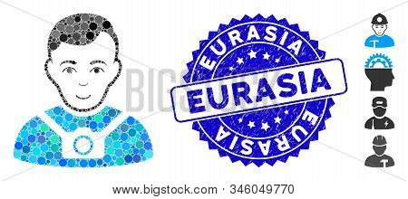 Mosaic Photographer Icon And Distressed Stamp Seal With Eurasia Text. Mosaic Vector Is Created With