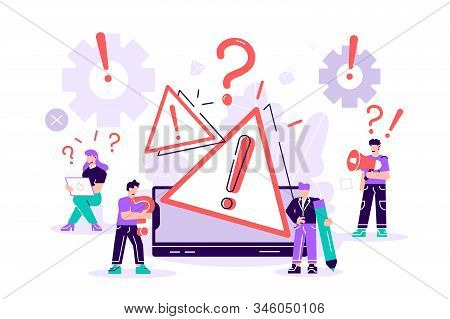 Concept Operating System Error Warning. 404 Error Web Page Vector Illustration, Error Warning Window