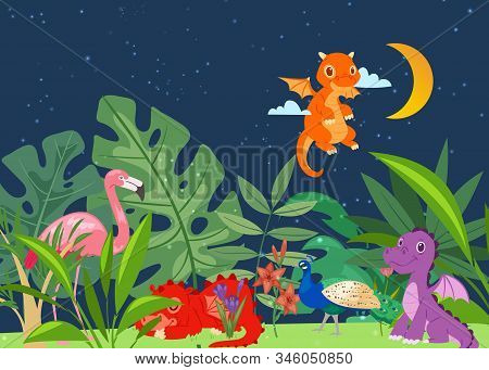 Cute Dinosaurs In Dino World With Palm Trees, Exotic Birds At Night Vector Illustration. Prehistoric