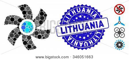 Mosaic Rotor Icon And Rubber Stamp Watermark With Lithuania Text. Mosaic Vector Is Created From Roto