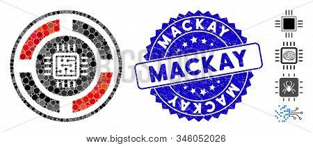 Mosaic Roulette Processor Icon And Grunge Stamp Seal With Mackay Caption. Mosaic Vector Is Composed