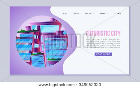City Of Future Web Vector Template. Amazing Alien-look Neon City Scape With Floating Town, Skyscrape