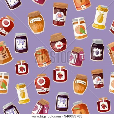 Homemade Jam With Fresh Fruits And Berry Jam With Rustic Jars Of Jelly, Marmalade Seamless Pattern V