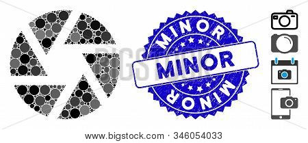 Mosaic Shutter Icon And Rubber Stamp Seal With Minor Phrase. Mosaic Vector Is Created With Shutter I
