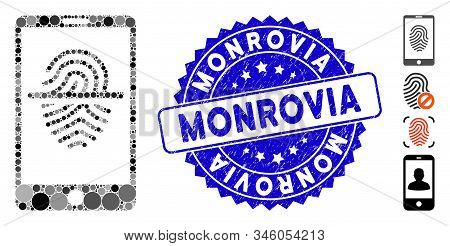 Mosaic Smartphone Fingerprint Scanner Icon And Rubber Stamp Watermark With Monrovia Phrase. Mosaic V