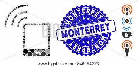 Collage Smartphone Wi-fi Signal Icon And Grunge Stamp Watermark With Monterrey Caption. Mosaic Vecto