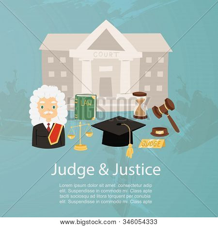 Judge Man In Judicial Robe And Wig, Justice And Court, Law Book And Hummer Cartoon Character Vector