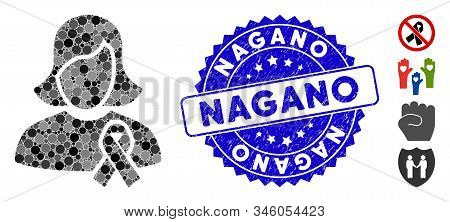 Mosaic Solidarity Tie Icon And Distressed Stamp Seal With Nagano Phrase. Mosaic Vector Is Designed W