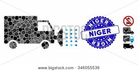 Mosaic Street Washing Car Icon And Distressed Stamp Seal With Niger Phrase. Mosaic Vector Is Created