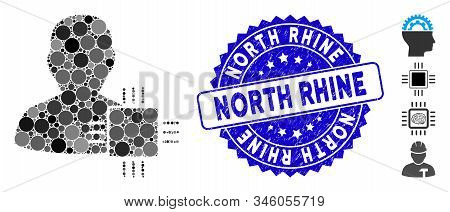 Collage System Developer Icon And Distressed Stamp Seal With North Rhine Phrase. Mosaic Vector Is Fo