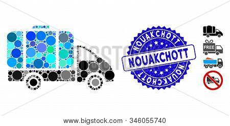 Mosaic Tank Truck Icon And Corroded Stamp Seal With Nouakchott Text. Mosaic Vector Is Composed With