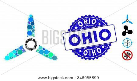 Mosaic Three Bladed Screw Icon And Corroded Stamp Seal With Ohio Caption. Mosaic Vector Is Composed