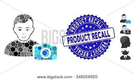 Mosaic User Photo Icon And Rubber Stamp Seal With Product Recall Text. Mosaic Vector Is Composed Wit