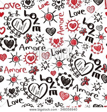 Seamless Pattern Valentines Doodles. Love Amore Scribbles Hearts, Stars Lettering In Red And Black.
