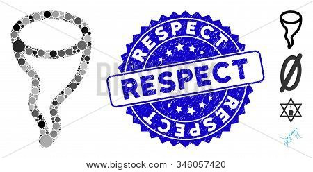 Mosaic Vortex Icon And Grunge Stamp Seal With Respect Phrase. Mosaic Vector Is Created With Vortex I